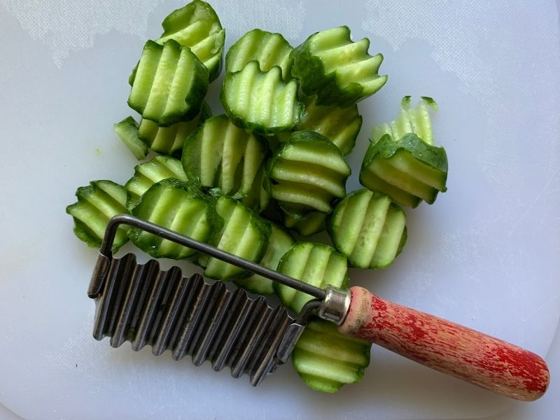 How to make bread & butter pickles - vintage crinkle cutter tool and raw pickle chips